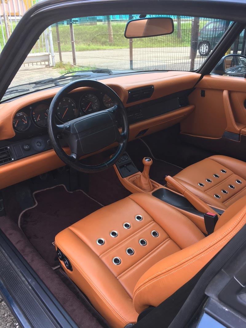 Herstoffering Porsche leder DUX Tornado Cognac – door-M.J